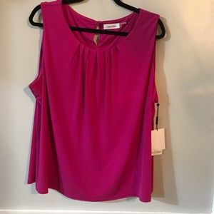 Calvin Klein Sleeveless Pink Dress Blouse Size 2X